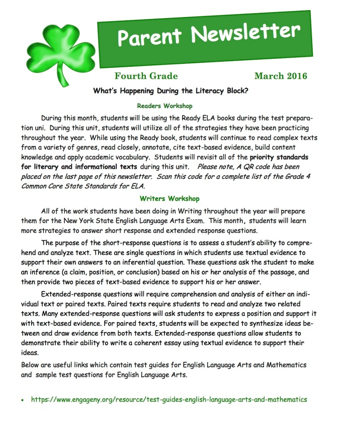 4th grade newsletter march 2016