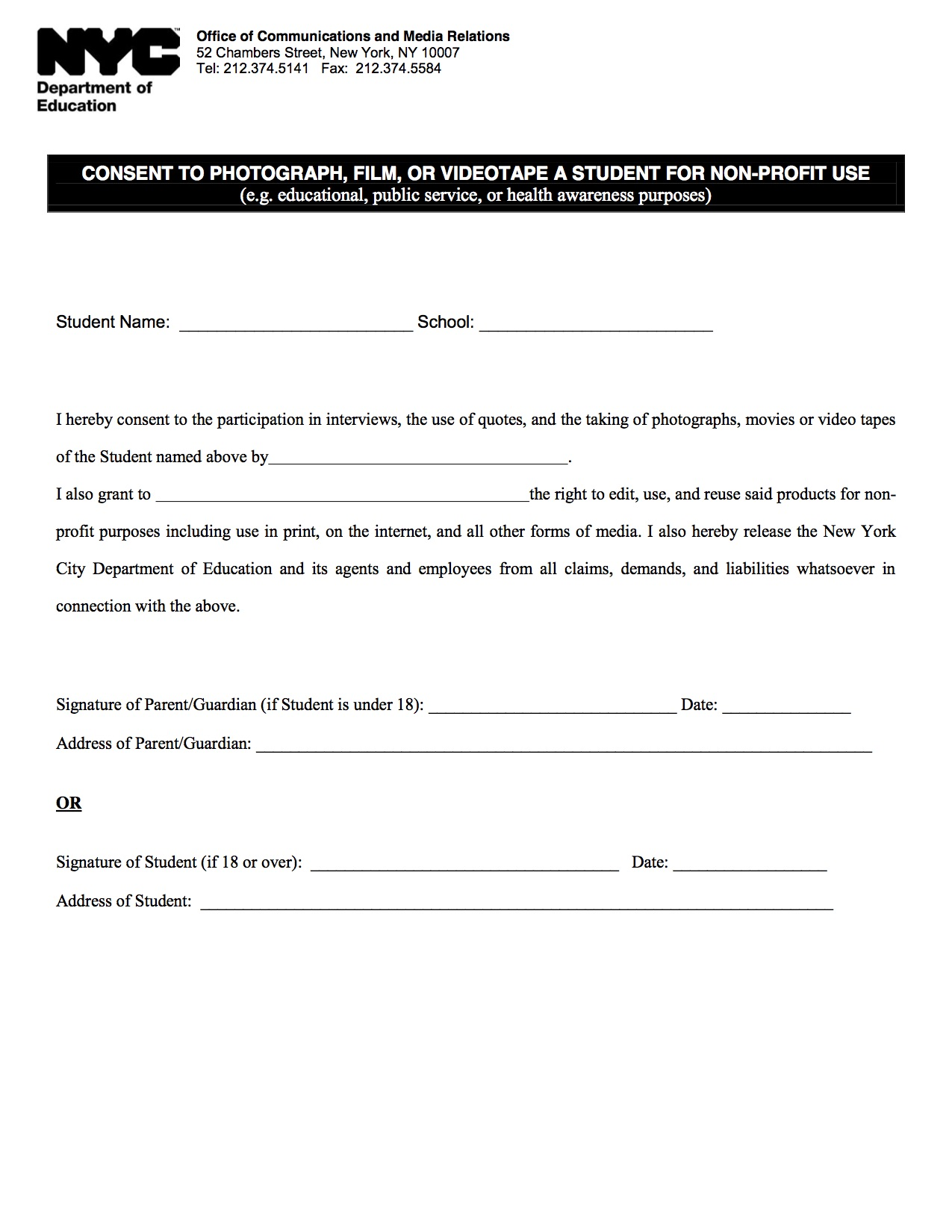 Media Consent Form | 51st Avenue Academy